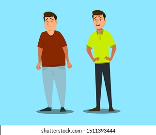Sad fat and happy healthy slim man. Transformation of the male body Vector illustration in cartoon style.