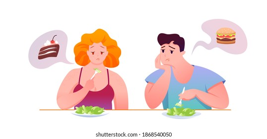 Sad fat people eat green salad vector illustration. Cartoon man woman character sitting at table, eating diet healthy food, dreaming of unhealthy burger or piece of chocolate cake isolated on white
