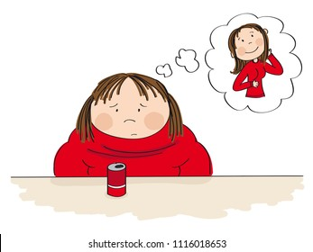 Sad fat woman sitting behind the table with can of cola in front of her, dreaming about a slim figure. Original hand drawn illustration