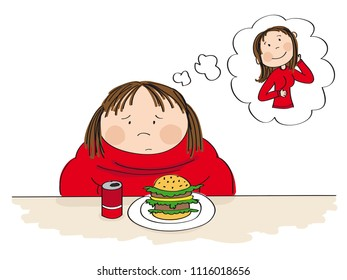 Sad fat woman sitting behind the table with can of cola and hamburger in front of her, dreaming about a slim figure. Original hand drawn illustration