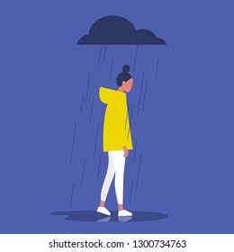 Sad female character standing under the rain. Overcast weather. Emotions. Solitude concept. Flat editable vector illustration, clip art