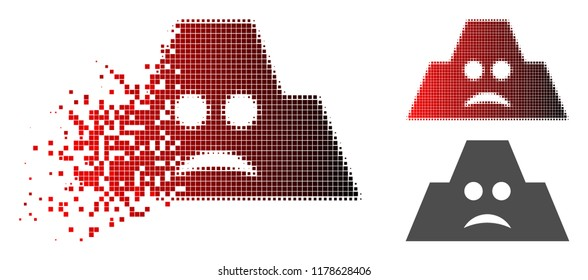 Sad fortification icon in dispersed, dotted halftone and undamaged entire versions. Fragments are composed into vector dissolving sad fortification icon.