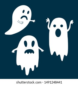 Sad and frightening ghosts for Halloween.