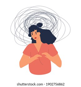 Sad Frustrated woman with nervous problem feel anxiety, headache, unresolved issues, psychological trauma, depression and confusion. Unhappy Girl in depression has mental disorder and chaos.