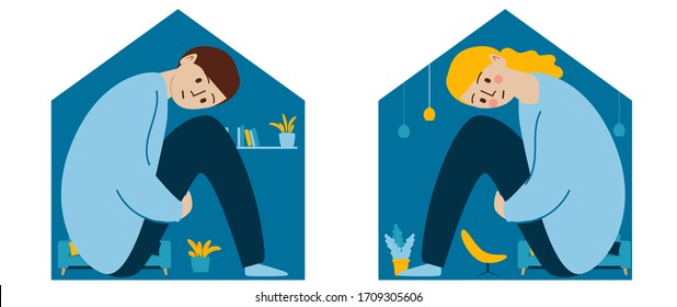 Sad girl and boy sitting locked at home, self-isolation, quarantine, concept. Relationship problems and adolescent psychology. A person feels cramped and claustrophobic while locked up.
