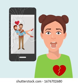 Sad girl with broken heart because of boyfriends photo with another woman on social media vector illustration. Beloved man holds rival in his arms, happy couple image on broken smartphone screen.