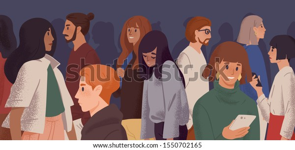 Sad girl in crowd flat vector illustration. Emotional burnout, depression and fatigue concept. Young overworked woman feeling exhausted cartoon character. Psychological disorder, apathy idea
