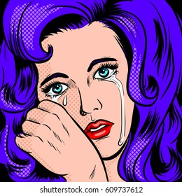 Sad girl crying pop art retro vector illustration. Comic book style imitation.