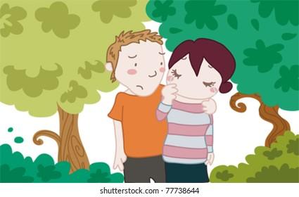 A sad girl with a friend or boyfriend in a park
