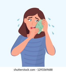 The sad girl holds a bag of ice at the sick tooth. Toothache. Vector illustration of a cartoon sick people