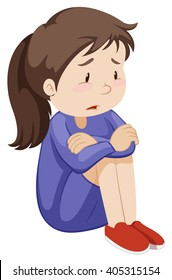 Sad girl sitting alone illustration