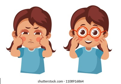sad girl squints and happy girl with  new glasses. Poor eyesight in children. cartoon vector illustration isolated on white background.