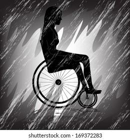 Sad Girl in wheelchair with dark background