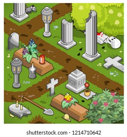 Sad graveyard scene with tombs, tombstones, columns, shovel and corpse underneath a shrubbery