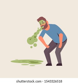 sad guy vomiting nausea stomach ache food or alcohol poisoning digestive problem concept unhappy man puking feeling sick flat full length vector illustration