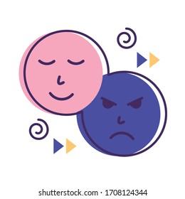 sad and happy emoticons flat style icon vector illustration design