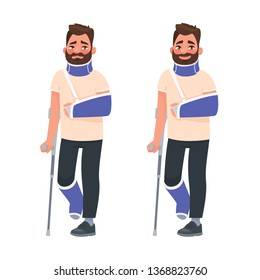 Sad and happy man with a broken arm and leg in a cast with a crutch and a fixing collar around his neck. Fracture limb. Injury. Vector illustration in cartoon style