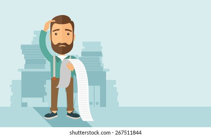A sad hipster Caucasian man with beard standing holding a paper feels headache and worries about paying a lot of bills. Problem, worries concept. A contemporary style with pastel palette soft blue