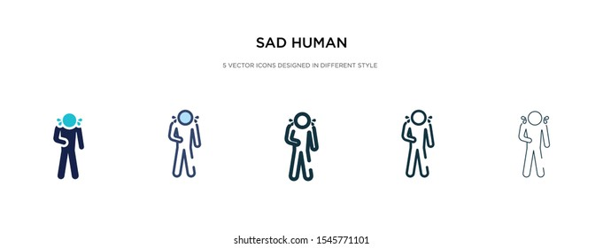 sad human icon in different style vector illustration. two colored and black sad human vector icons designed in filled, outline, line and stroke style can be used for web, mobile, ui