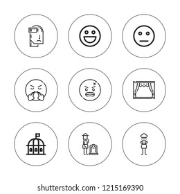 Sad icon set. collection of 9 outline sad icons with angry, exhausted, emot, grief, neutral, pessimistic icons. editable icons.