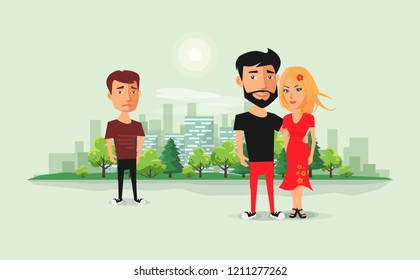 Sad jealous ex boyfriend looking at romantic couple. Past relationship concept. Ex-lover in love triangle. Beautiful couple with ex and urban city skyline background. Flat vector cartoon illustration.