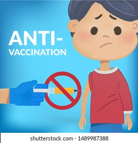 Sad kid boy afraid of shoulder jab or flu shot and rejecting preventive medicine. Anti Vaccination concept. Vaccine refusal. vector isolated illustration.