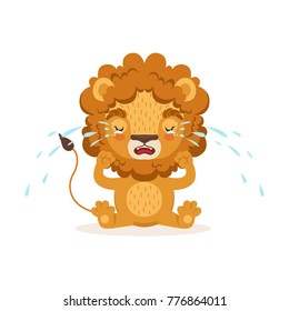 Sad little baby lion cartoon character sitting on the floor and crying. Safari animal with lush mane weeps. Vector in flat style isolated on white.