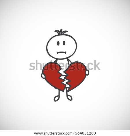 Sad Little Boy Broken Heart Cartoon Stock Vector Royalty Free