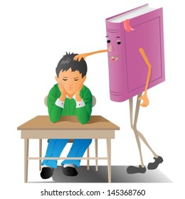 sad little boy which is encouraged by a book. Vector illustration.
