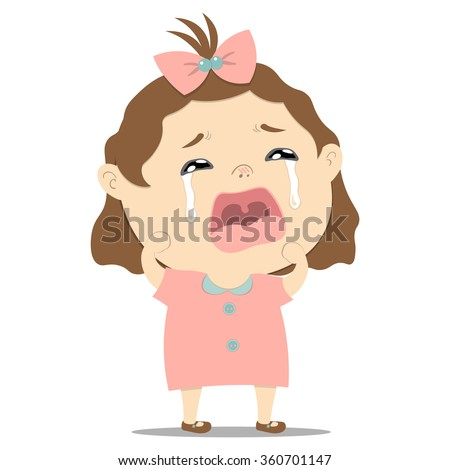 sad little cute baby girl crying on white background vector illustration