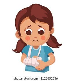sad little girl with  broken arm. bone fracture, orthopedic plaster. cartoon vector illustration.