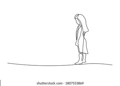 Sad little girl in continuous line art drawing style. Upset kid looking lonely black linear sketch isolated on white background. Vector illustration