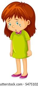 Sad little girl crying illustration