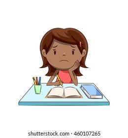 Sad little girl, homework, studying, vector illustration