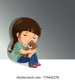 Sadness images stock photos vectors shutterstock sad little girl sitting alone with her teddy bear altavistaventures Images