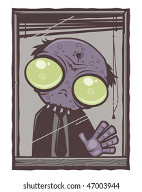Sad little office zombie staring out of his window.