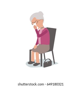 sad lonely Elderly Woman Sitting on chair Crying - vector characters body parts grouped and easy to edit - limited palette
