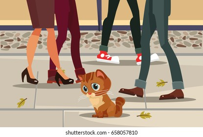 Sad lonely homeless lost poor little cat child character sitting on street. People past away. Vector flat cartoon illustration