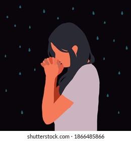 Sad and lonely young woman praying. Depression, sadness, mental disorder, prayer, despair, sadness, hope, faith. Flat vector illustration