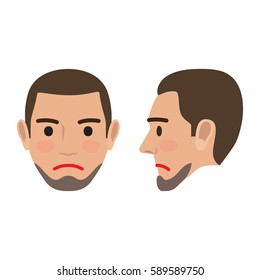 Sad man avatar user pic. Vector illustration of front and side view of upset person. Male head with disappointed facial expression. Adult profile icon with angry face, character in bad mood