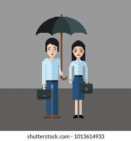 Sad man and girl under an umbrella, pixel art style vector illustration