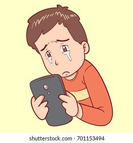 sad man looking at phone