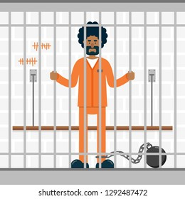 Sad man in orange prison jumpsuit uniform standing behind the bars. Flat vector illustration.