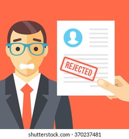 Sad man and rejected application form flat illustration concept. Modern flat design concepts for web banners, websites, printed materials, infographics. Red background. Creative vector illustration