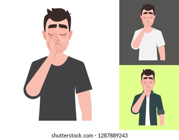 Sad man showing a gesture facepalm.  Vector illustration headache, disappointment, depressive disorders or shame in cartoon  flat style. Vector