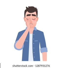 Sad man showing a gesture facepalm. Character in a denim jacket. Vector illustration headache, disappointment, depressive disorders or shame in cartoon  flat style. Vector