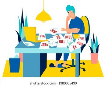 Sad man sitting with bills, debt for the house. In minimalist style. Cartoon flat Vector Illustration