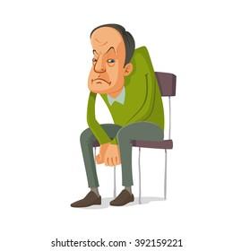 sad man sitting on a chair, vector cartoon