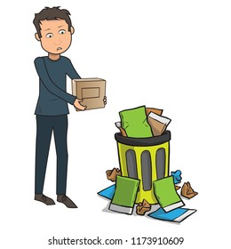 Sad man throwing out a box in a recycle bin wasted dustbin wastebasket unhappy