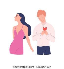 Sad man trying to present his heart to woman rejecting his gift. Unrequited, one-sided or rejected love. Male and female cartoon characters isolated on white background. Flat vector illustration.